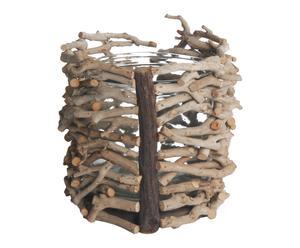 Cache-pot bois de théier et verre, naturel - Ø18