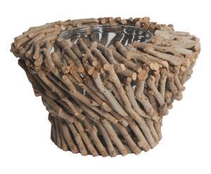 Cache-pot bois de théier et verre, naturel - Ø28