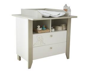 Commode table à langer OURSON bois, blanc et beige - L97