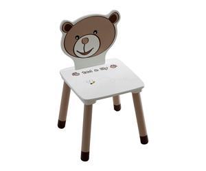 Chaise TED & LILY bois, chocolat et beige - L30