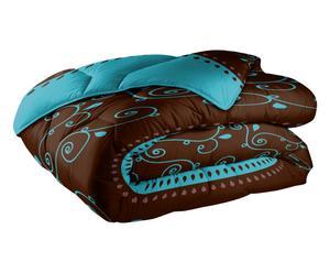 Couette CUJAM polyester, chocolat et bleu - 220*240