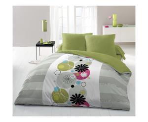 Parure de drap GALLINA polyester, vert et gris - 240*300