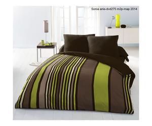 Parure de drap CORONAE polyester, marron et vert - 240*300
