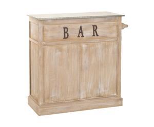 Meuble de bar MIA bois de paulownia, naturel et gris - L109