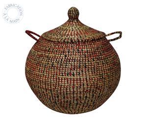 Panier ALI BABA tissu africain et paille, rouge - H60