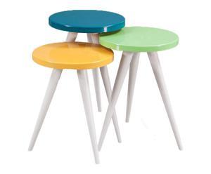 3 Tables COLORS, bois - turquoise et vert