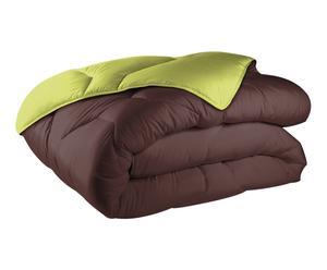 Couette coton et polyester, chocolat et vert - 220*240