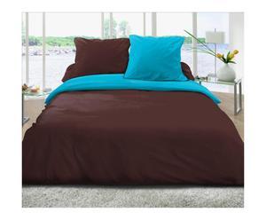 Parure CONFORT coton, chocolat et turquoise - 240*260
