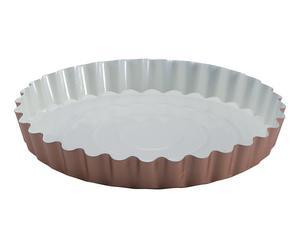 Moule à tarte, acier et céramique - crème et cuivre