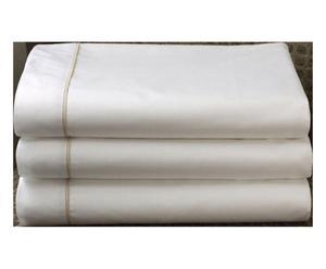 Drap coton, blanc avec une bordure beige - 260*235