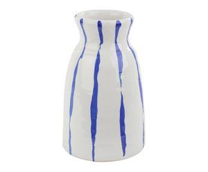 Vase, bleu et blanc - H25