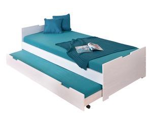 Cadre de lit bois de pin, blanc - 96*204