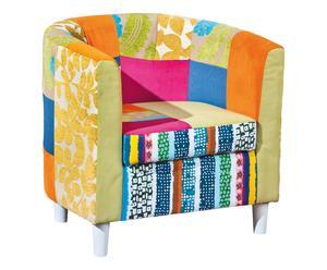 Fauteuil patchwork et bois massif laqué, multicolore - L66