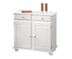 Commode 2 portes JANE bois de pin, blanc - L88