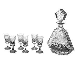 Carafe à vodka et 6 verres ADÉLAIDE, cristal - transparent