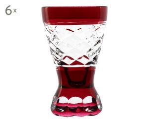 6 Verres à vodka JAQ cristal, rubis et transparent - H8