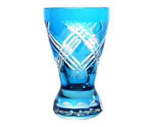 6 Verres à vodka THIERRY cristal, turquoise - H8