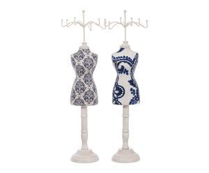 2 Porte bijoux bois et tissu, bleu - L39