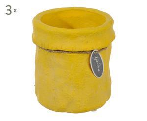 3 Cache-pots céramique, jaune - Ø11