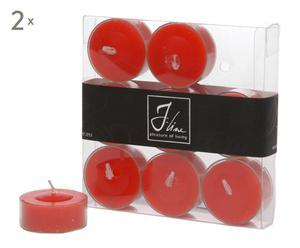 18 Bougies chauffe-plat, cire - rouge