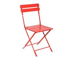 Chaise pliante métal et bois, rouge - L40