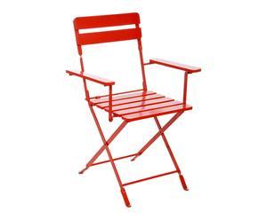Chaise pliante métal et bois, rouge - L60