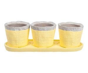 3 Cache-pots et plateau céramique, jaune - H8