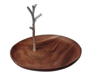 Plateau de présentation bois d\'acacia et acier, naturel - Ø31