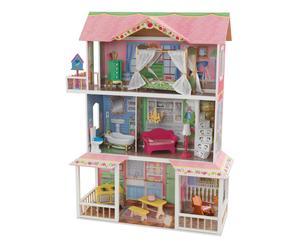 Maison de poupée bois  et tissu, pastel - H112