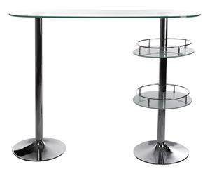 Meuble de bar verre et métal chromé, transparent - L54