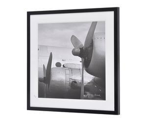 Cadre VINTAGE II bois et papier, noir et blanc - 80*80