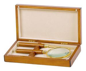 Boîte avec loupe et coupe-papier bois de noyer, naturel et doré - 21*15