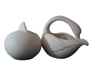 Sucrier et pot à lait CYGNE, porcelaine - blanc