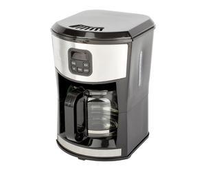Cafetière programmable acier inoxydable, noir et argenté - 1,5L