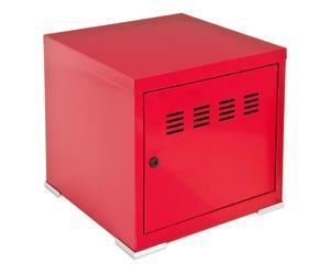 Cube de rangement acier et bois, rouge - L40