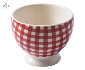 4 Mugs à café SARAH faïence, rouge et blanc - H7