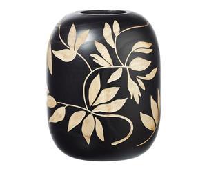 Vase décoratif bois de paulownia, noir et naturel - H28