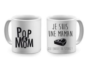 2 Mugs MAMAN QUI ENVOIE DU STEAK céramique, noir et blanc - H9