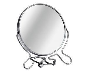 Miroir de maquillage pivotant chrome et verre, argenté - H18