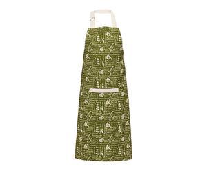 Tablier BASIL coton, vert et blanc - 69*87