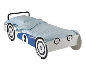Lit voiture SYLDOR bois, bleu et blanc - 94*214