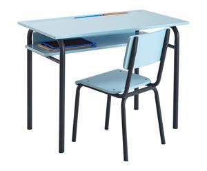 Bureau style écolier BUTON métal et bois, bleu et noir - L85