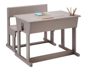 Bureau pupitre et chaise ECOLIER bois de pin massif, taupe - L80