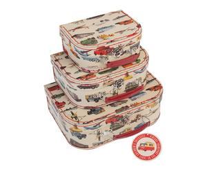 3 Mini valises, carton et plastique - multicolore