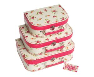 3 Mini valises ROSE, carton et plastique - rose et blanc