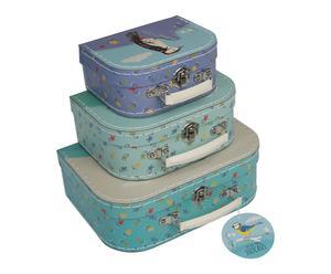 3 Petites valises BIRDS, carton et plastique - bleu