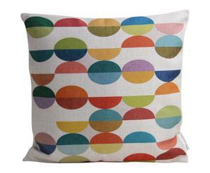 Housse de coussin RONDS lin et coton, multicolore - 45*45
