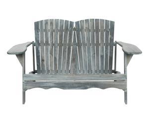 Banc HANTOM bois d\'acacia et fer, gris et argenté - L146