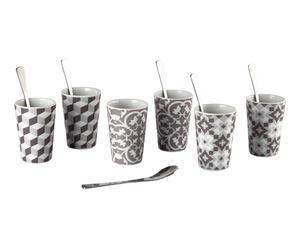 6 Verres à café et cuillères AIK porcelaine, blanc et taupe - Ø6