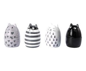 4 Coquetiers CHAT résine, gris et noir - H8